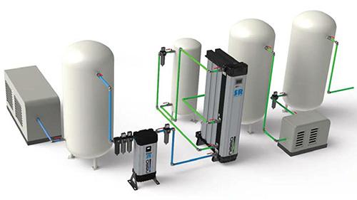 空压机后处理解决方案--压缩空气过滤干燥系统图